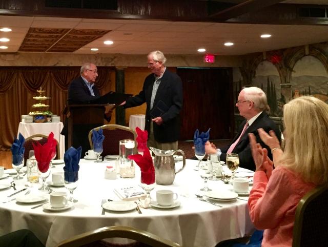State Senator Steve Cassano congratulates Robert Lessard.